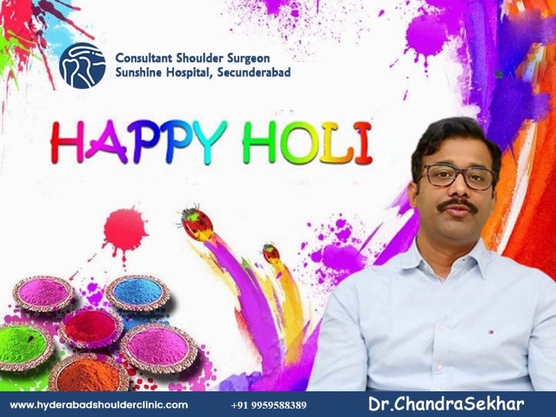 Happy Holi wishes by Dr. Chandra Sekhar, One of the best shoulder joint replacement surgery doctors in Hyderabad